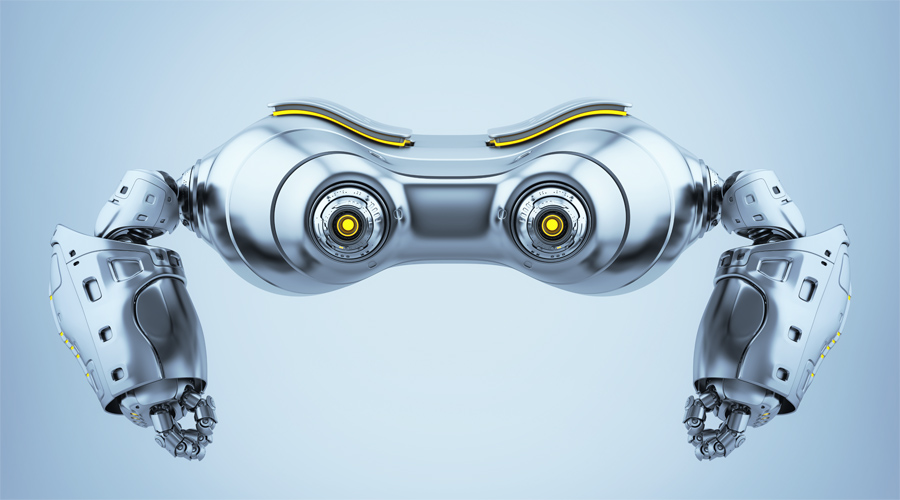 Cute look-see aerial robot in front