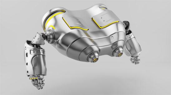 Silver robot binoculars in profile