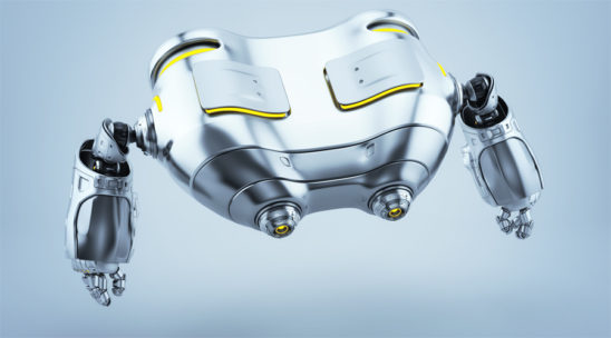 Robot binoculars in side render levitating looking down