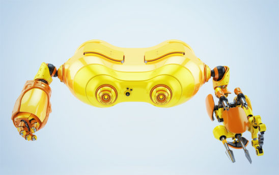 Bright yellow look-see robot with multifunctional arm