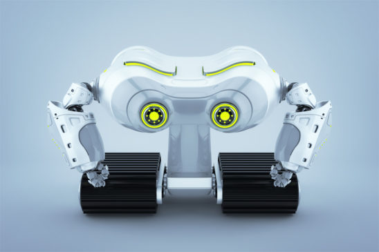 White-grey look-see robot on massive tracks with lime eyes