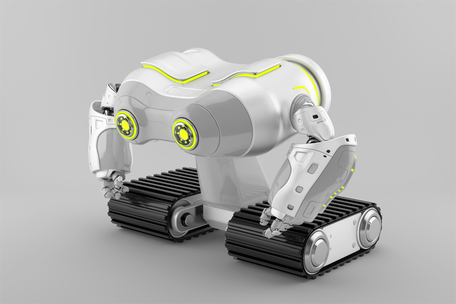 White-grey look-see robot on massive tracks with lime eyes in side render