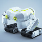 White-grey look-see robot on massive tracks with lime eyes in profile render