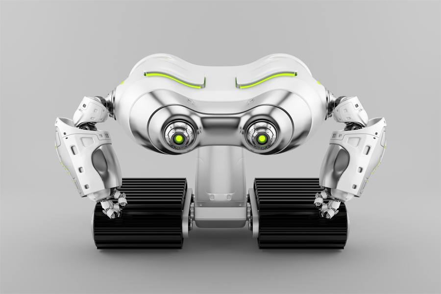 Silver look-see robot on tracks with helpful arms