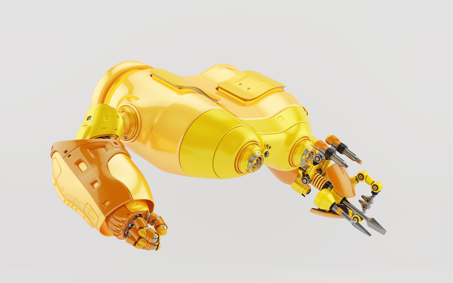 Bright yellow look-see robot with multi functional arm in profile