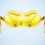 Aerial orange look-see robot levitating