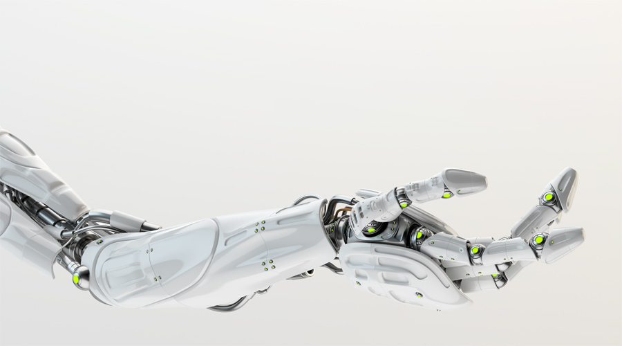 White stretched robotic arm