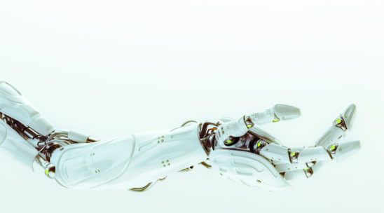 White stretched prosthetic robotic arm 3d render