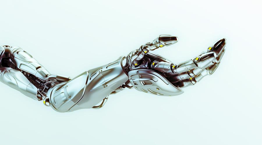 Artificial futuristic robotic arm with asking gesture
