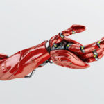 Red futuristic arm, type of bionic arm with similar functions to a human arm
