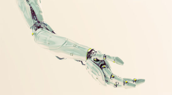 Stylish white robotic arm