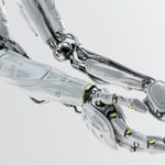 Pair of futuristic robotic arms