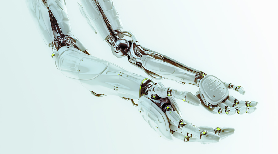 Pair of futuristic robotic arms