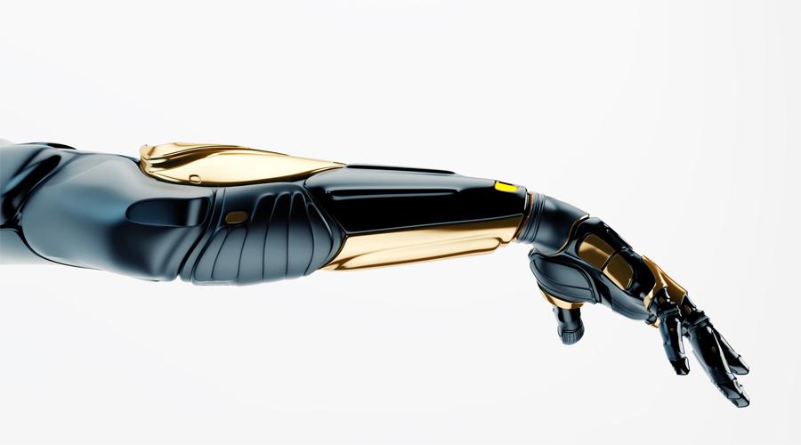 Black robotic arm with golden parts