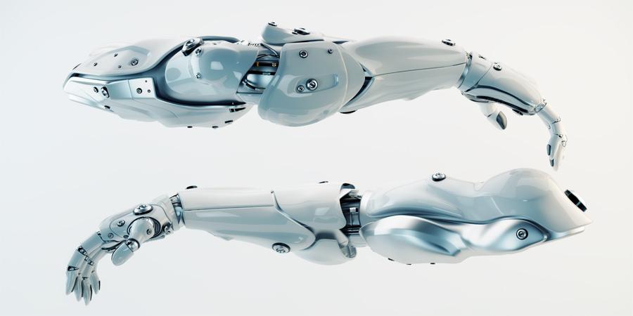 Pair of futuristic athletic robotic arms