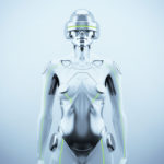 Woman robot. Futuristic silver robotic woman in front render