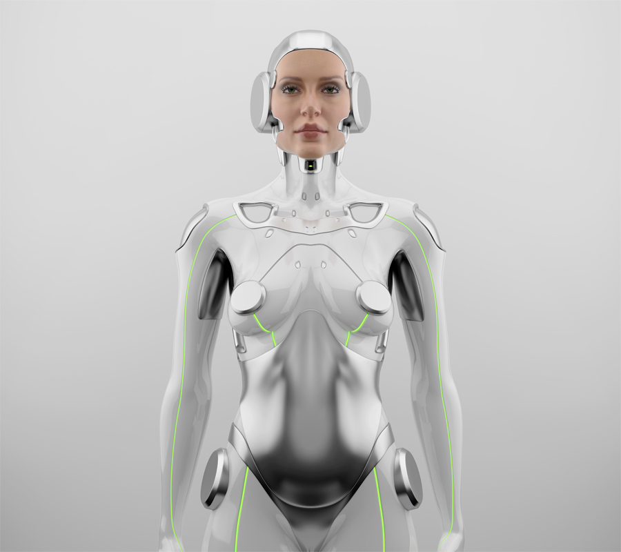 Sexy robotic woman with real face