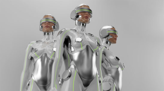 Three futuristic robot women in VR