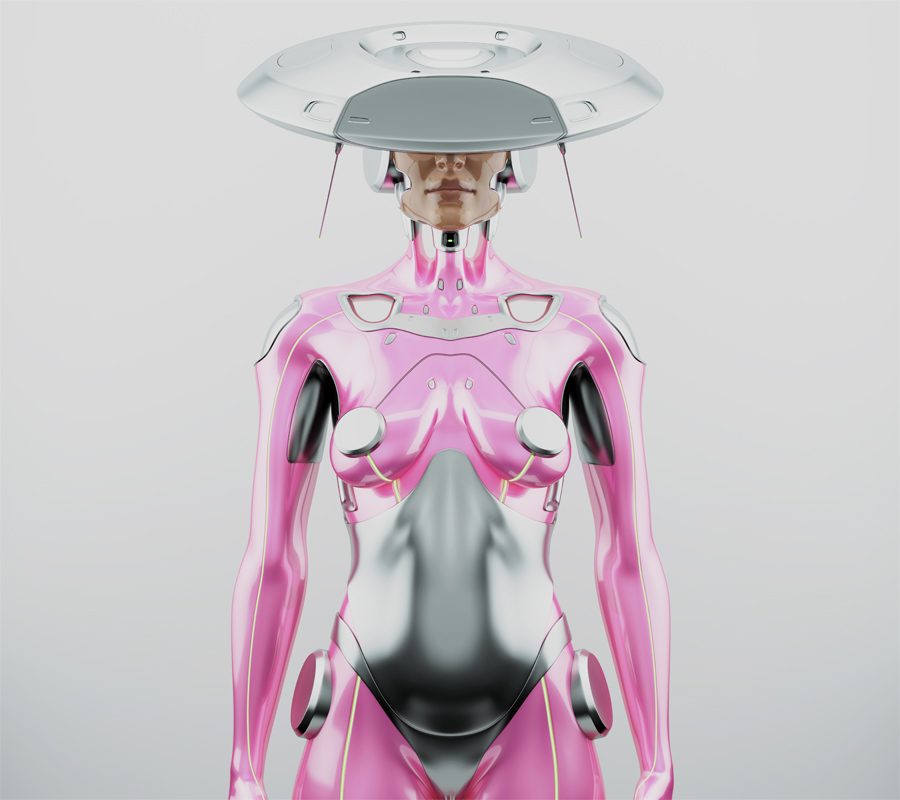 Pink robot woman with unusual hi-tech hat