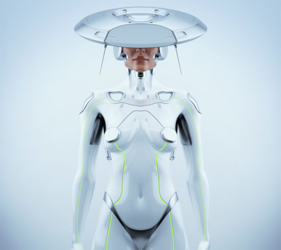 White futuristic robot woman with hi-tech hat