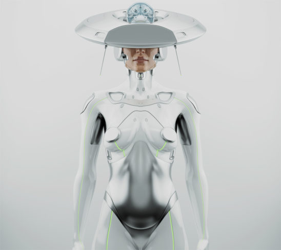 "White futuristic robot woman with hi-tech ""brain"" hat"
