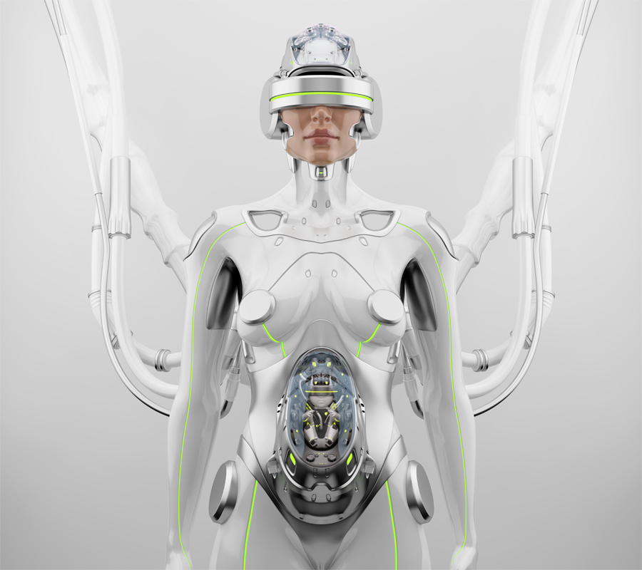 Robotic woman with cable connection in VR helmet