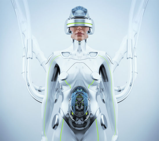 Robotic woman with cable connection in VR helmet waiting for baby