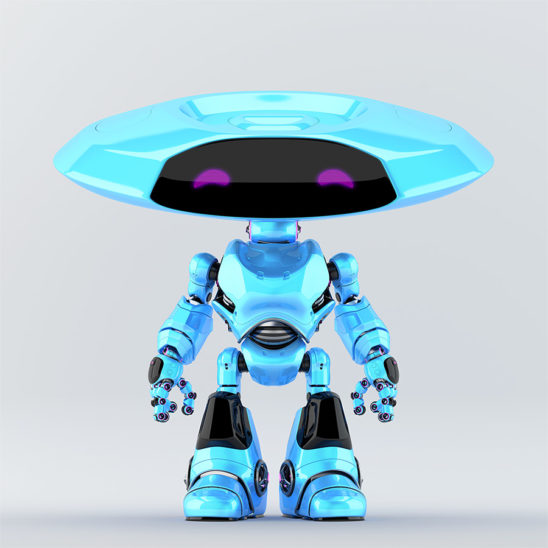 Blue ufo robot with violet eyes