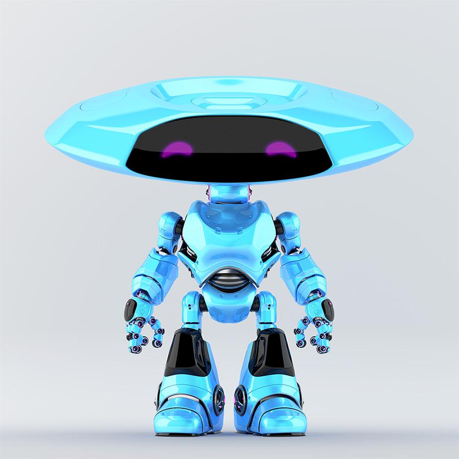 Blue ufo robot with violet eyes