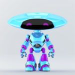 Light blue and violet robotic ufo creature featuring flat round head and violet eyes