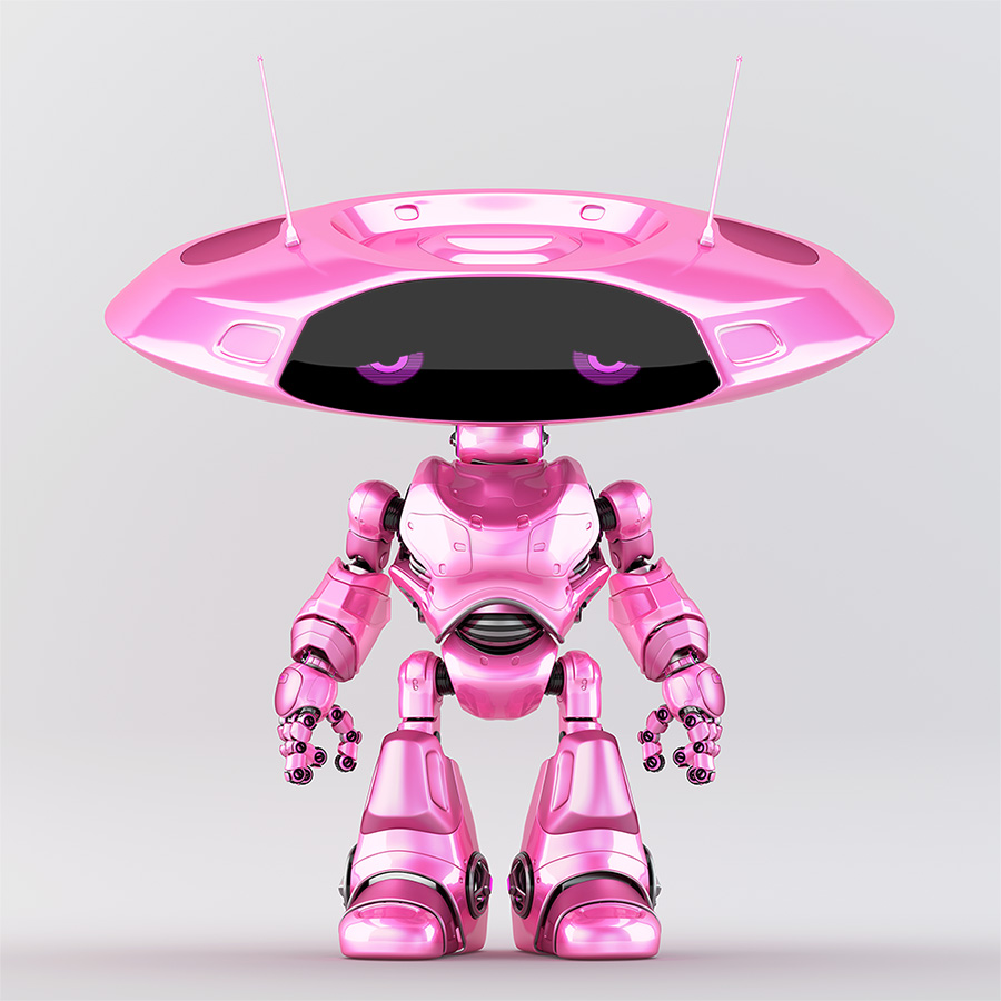 Pink dissapointed robotic ufo creature featuring flat round head