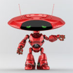 Bright red robotic ufo creature featuring flat round head and antennas gesturing
