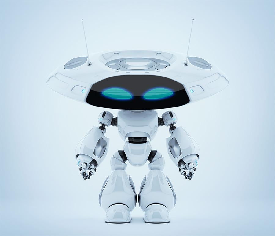 Unusual ufo robot with flat head and big strange eyes