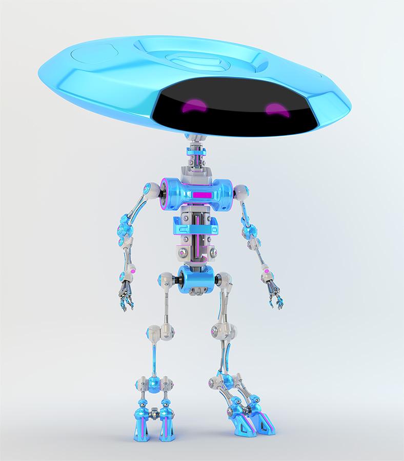 Smart ufo bone robot with flat round disc head and slim skeleton body