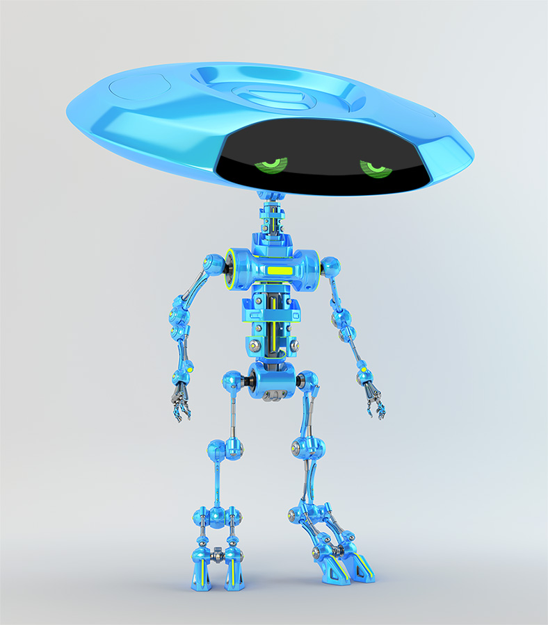 Smart ufo bone robot with flat round disc head and slim skeleton body