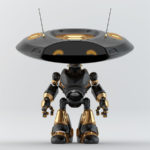 Richa black robotic ufo creature featuring flat round head and antennaes