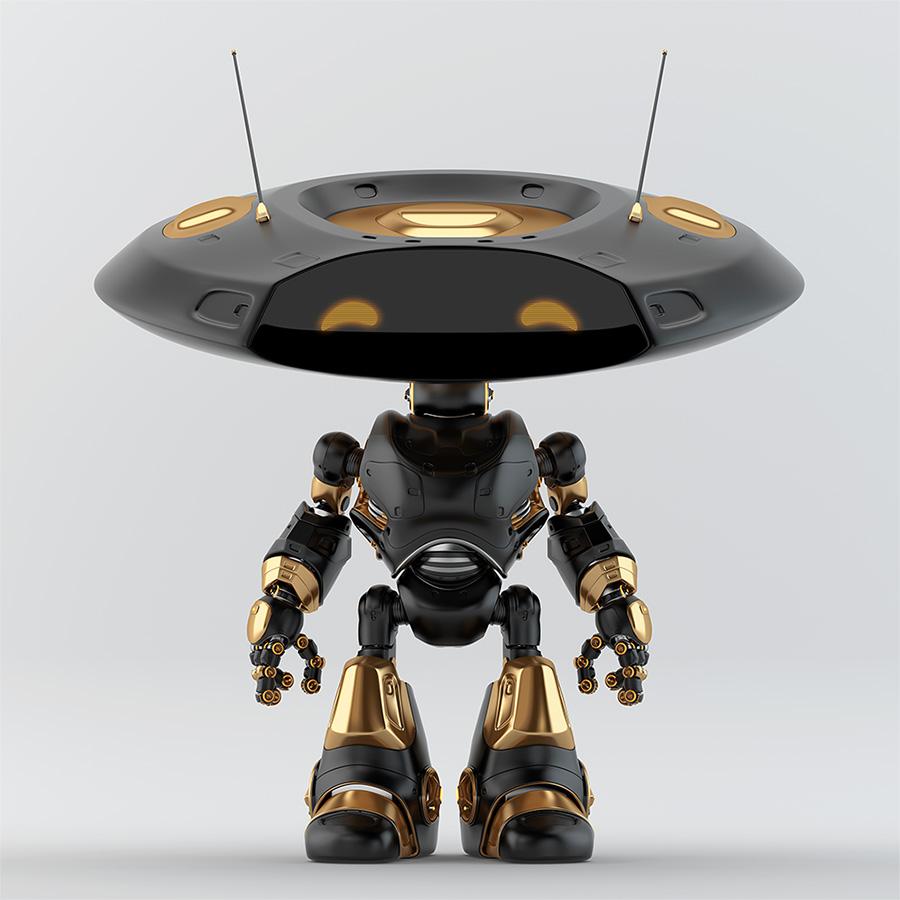 Richa black robotic ufo creature featuring flat round head and antennaes