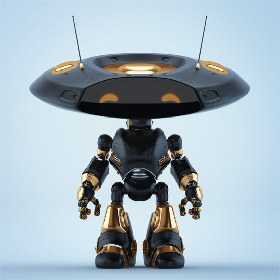 Rich black robotic ufo creature featuring flat round head and antennaes