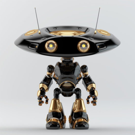 Ufo robot with flat head and two big anf two little eyes