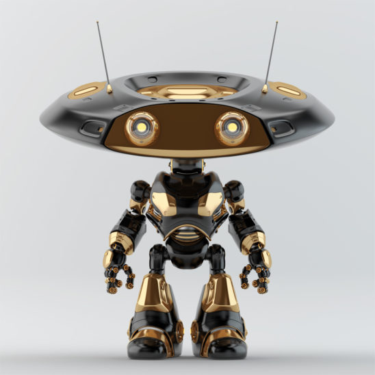Black with golden elements ufo robot with flat head and two big eyes and antennaes