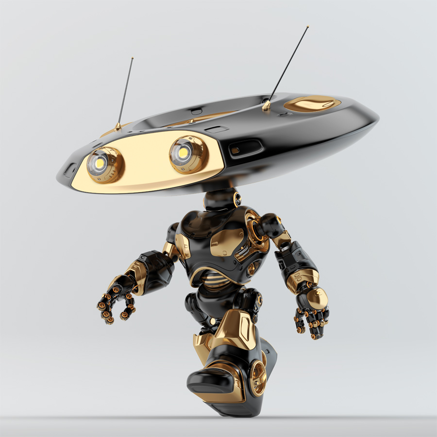 Walking luxury black ufo robot with flat round head and antennaes