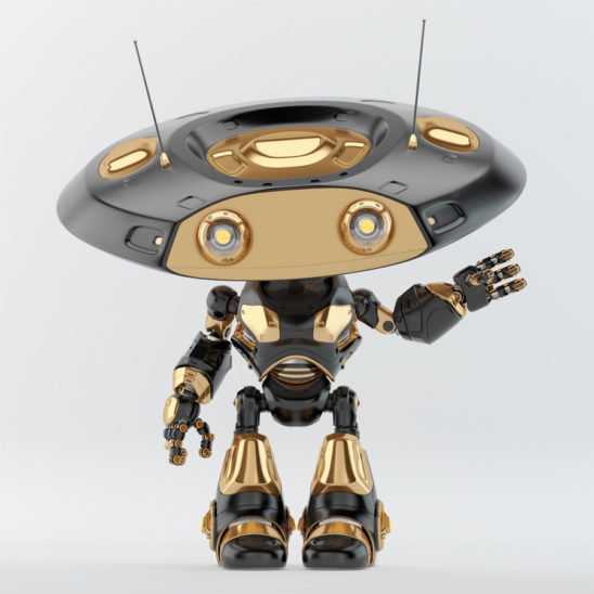Greeting luxury black ufo robot with flat round head and antennaes