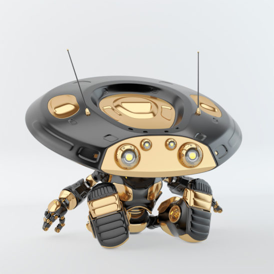 Sitting luxury black ufo robot with flat round head and antennaes