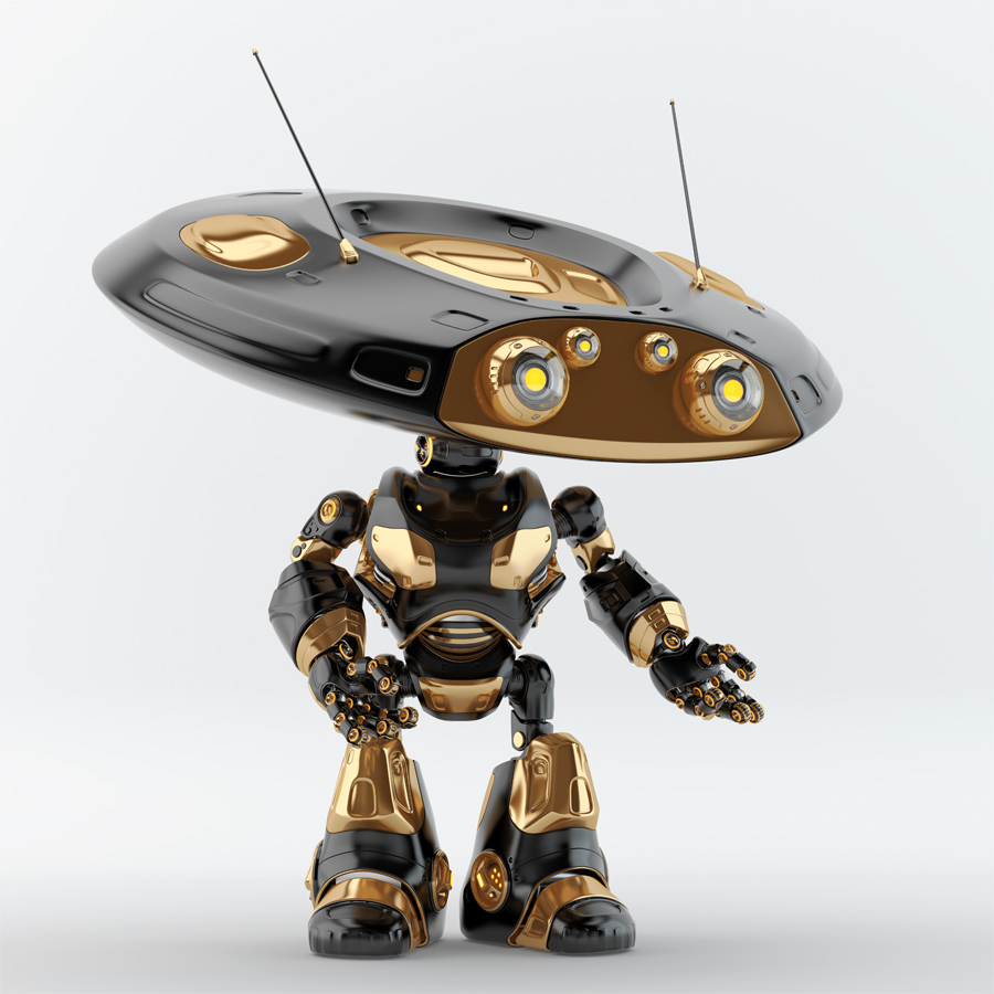 Black, luxury ufo robot with flat head and two big eyes gesturing