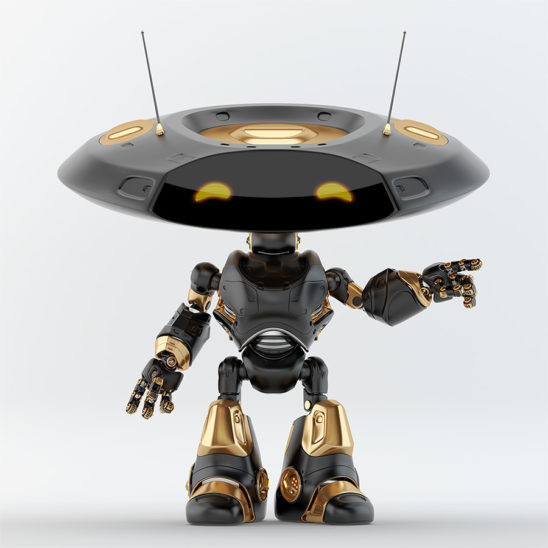 Pointing black, luxury ufo robot with flat head