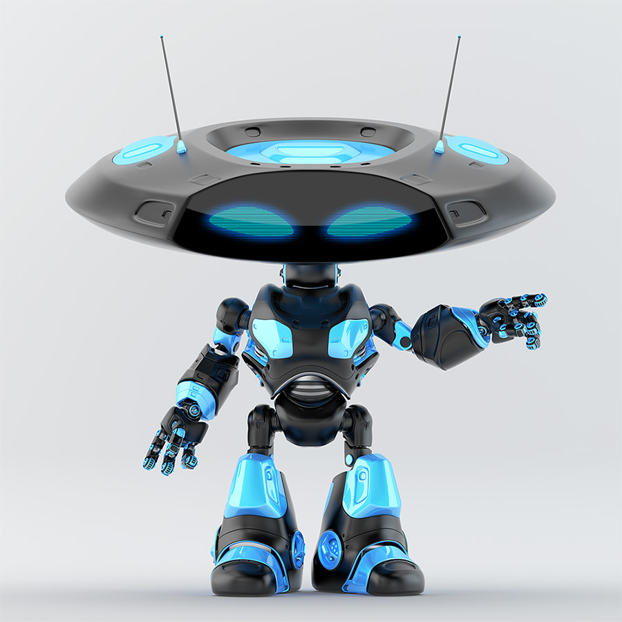 Pointing black, luxury ufo robot with flat head and two funny antennaes