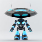 black with blue elements ufo robot with flat head and two funny antennaes
