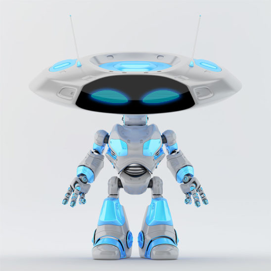 Grey with blue elements ufo robot with flat head and two funny antennaes