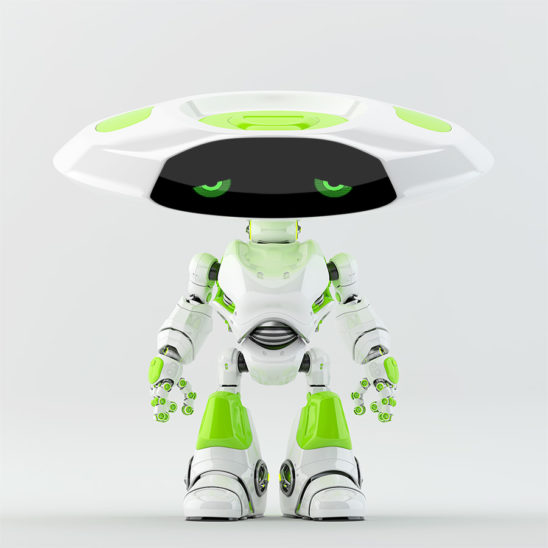White with bright green elements ufo robot with flat head