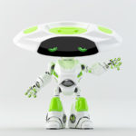 Gesturing White-green ufo robot with flat head